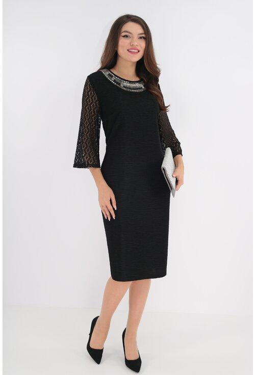 Rochie eleganta  neagra cu aplicatii handmade la decolteu