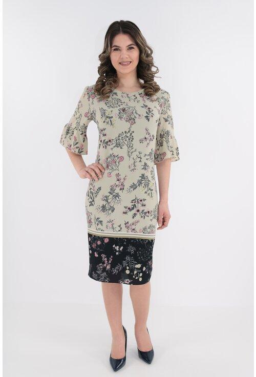 Rochie eleganta olive cu bordura
