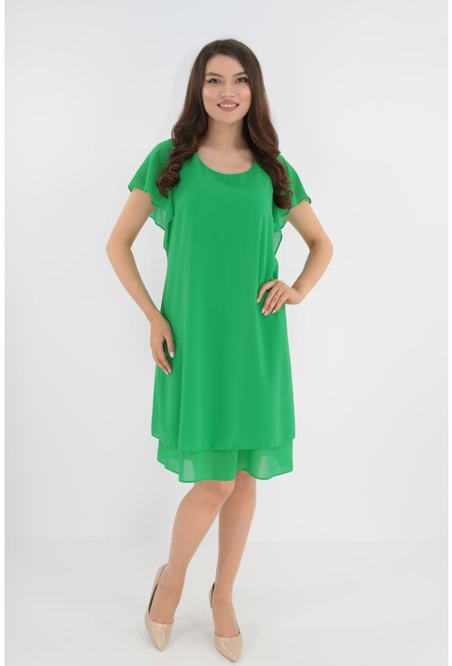 Rochie eleganta verde din voaluri suprapuse