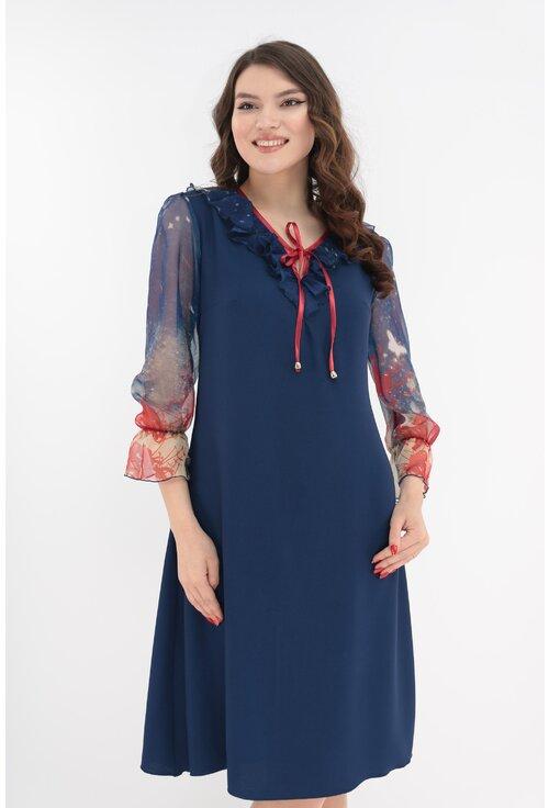 Rochie lejera bleumarin cu maneci din voal cu print rosu