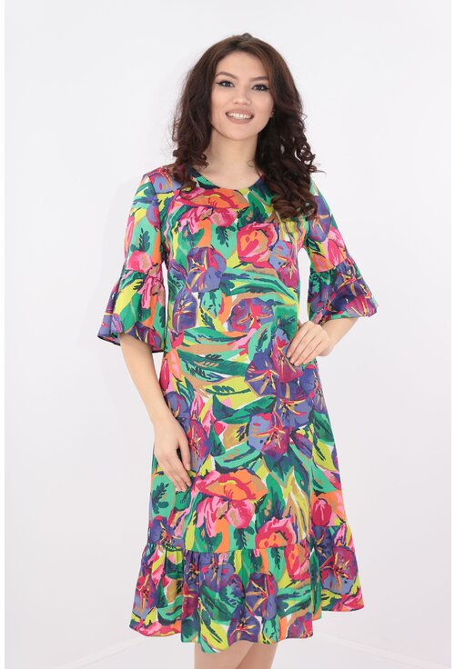 Rochie lejera din bumbac cu print multicolor