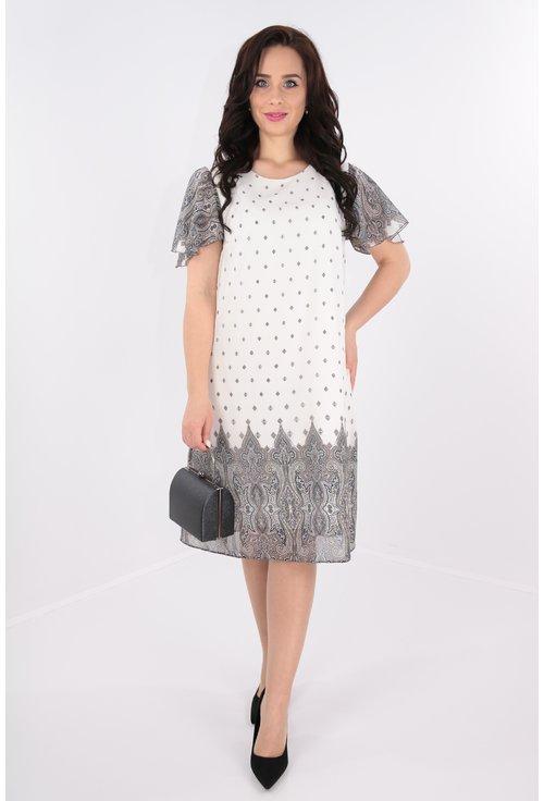 Rochie lejera din voal alb imprimat cu bordura gri
