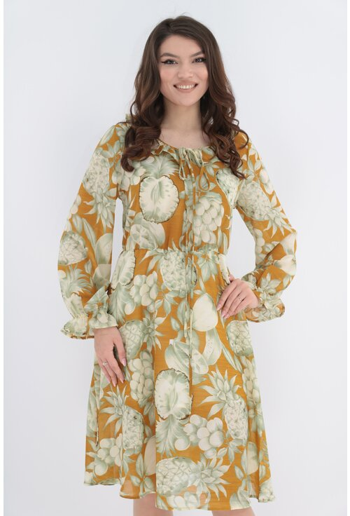 Rochie lejera din voal camel cu imprimeu floral