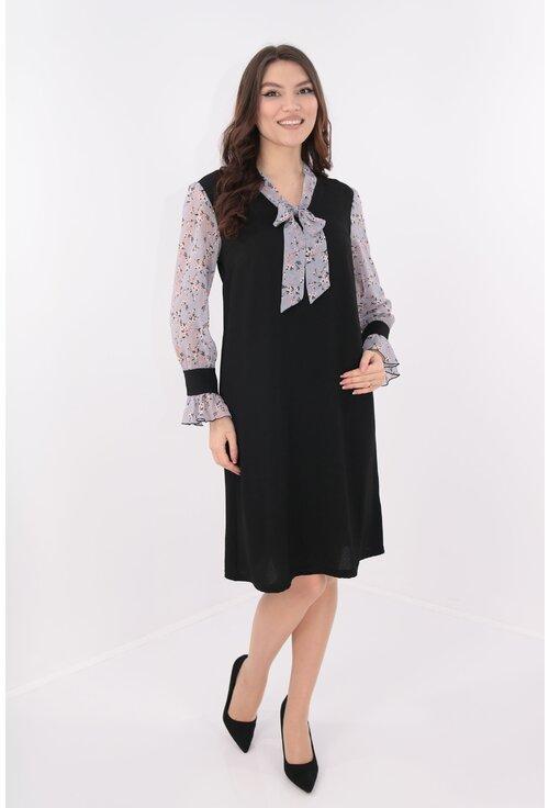 Rochie lejera neagra cu esarfa gri cu print discret