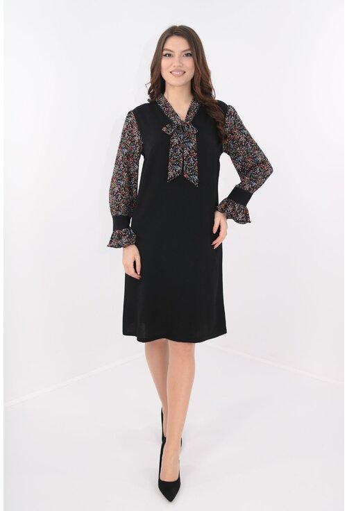 Rochie lejera neagra cu esarfa multicolora