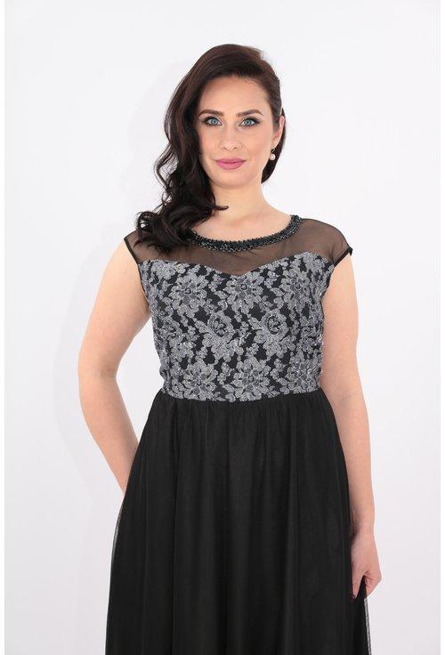 Rochie lunga neagra cu dantela gri