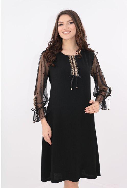Rochie neagra cu benzi decorative aurii