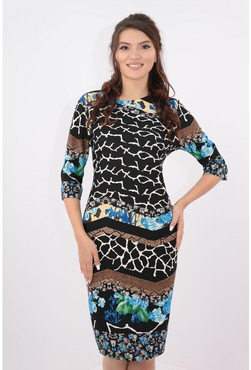 Rochie neagra cu desen abstract multicolor bordurat