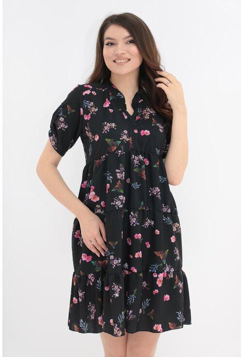 Rochie neagra cu flori mici roz si volane
