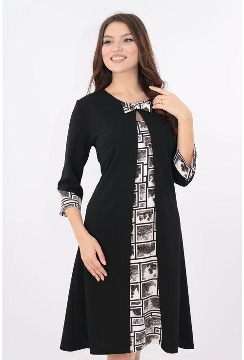 Rochie neagra cu insertii albe cu aspect suprapus