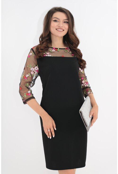 Rochie neagra cu maneci din tull cu broderie florala
