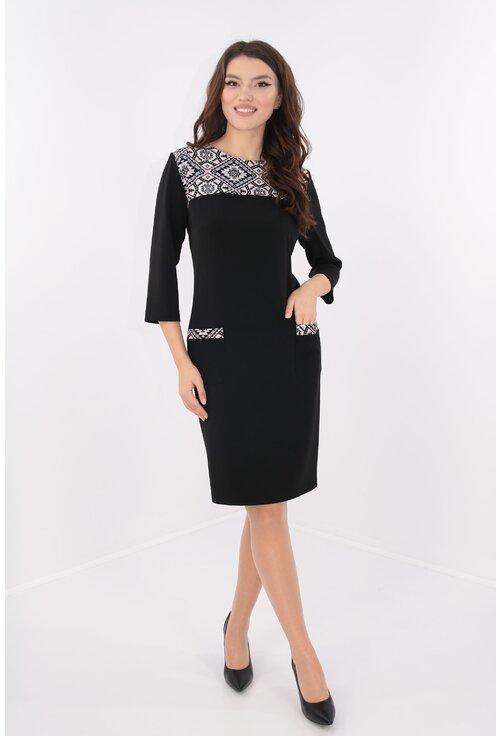 Rochie neagra cu platca cu print geometric
