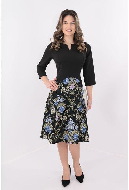 Rochie neagra de zi cu print floral bleu-crem
