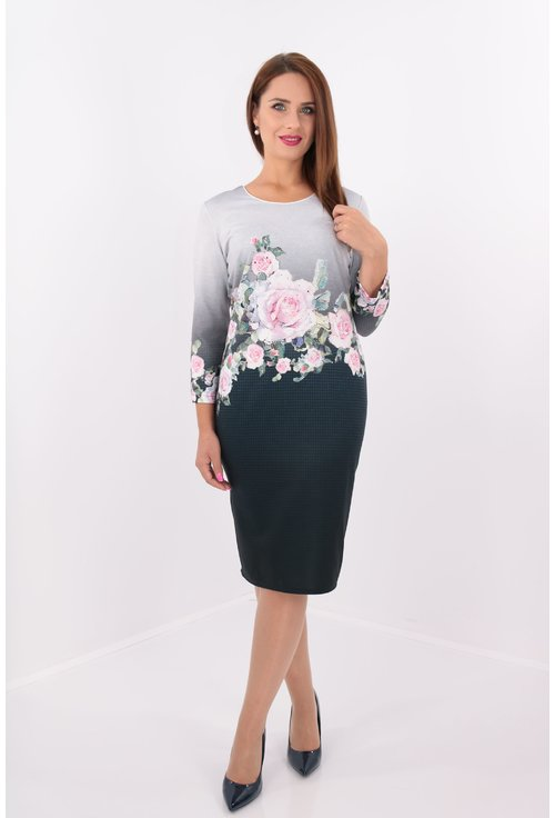 Rochie office dreapta din stofa gri-bleumarin cu print floral