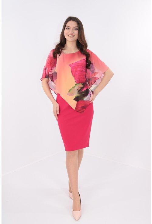 Rochie rosie cu pelerina asimetrica