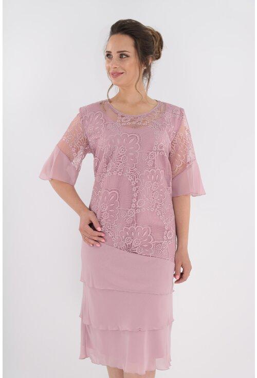 Rochie roz cu dantela si voaluri suprapuse