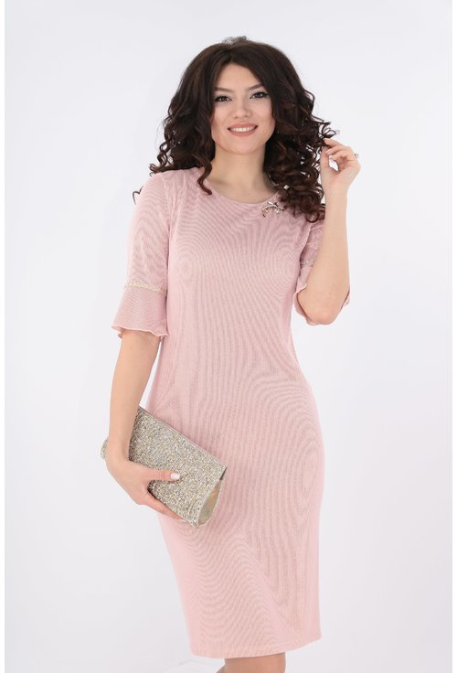 Rochie roz cu fir lame auriu