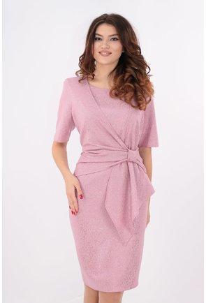 Rochie roz cu sclipici si drapaj tip funda