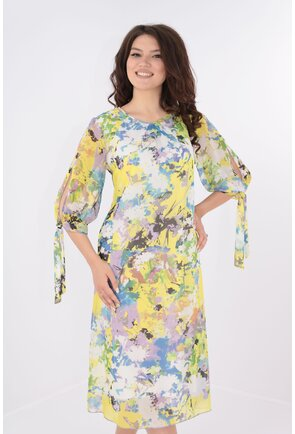 Rochie vaporoasa din voal galben cu print floral