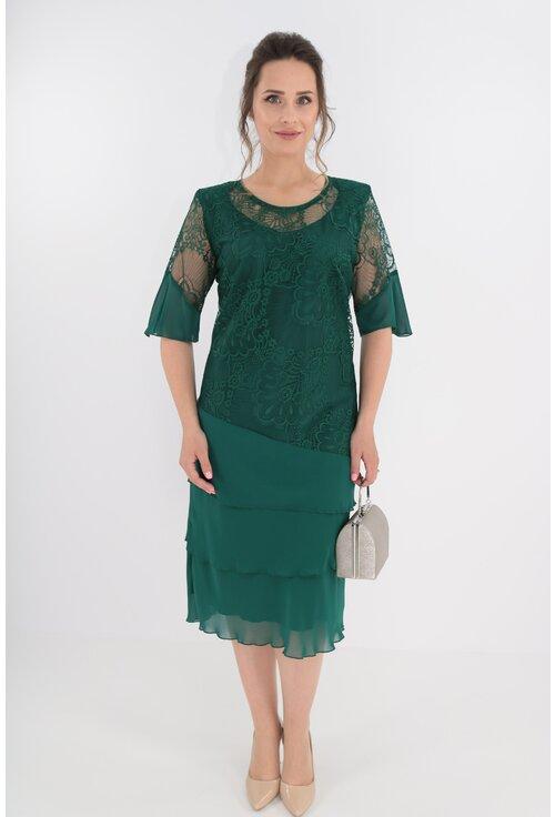 Rochie verde cu dantela si voaluri suprapuse