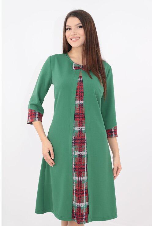 Rochie verde cu insertii rosii cu aspect suprapus