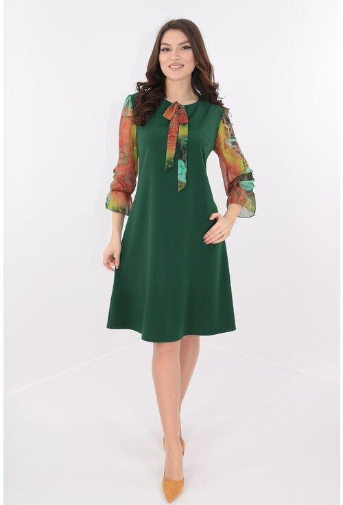 Rochie verde cu maneci din voal verde-caramiziu