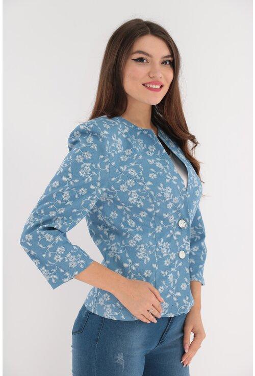 Sacou bleu cu print floral ivory