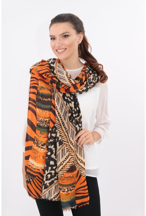 Sal fin orange cu desen geometric si animal print