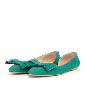 Balerini dama din piele naturala - 125 Verde Velur