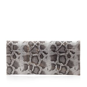Geanta plic slim dama din piele naturala,Leofex - 4015 argintiu+negru box