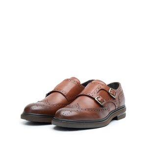 Pantofi barbati casual din piele naturala cu catarame,Leofex - 996-1 Cognac Box