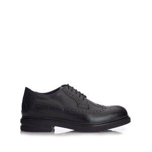 Pantofi casual barbati Brogue din piele naturala ,Leofex- 980-2 Negru Box