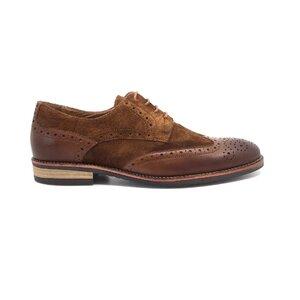 Pantofi casual barbati din piele naturala, Leofex - 514 cognac box+velur