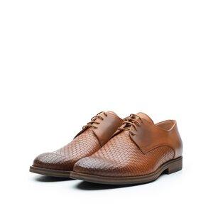 Pantofi casual barbati din piele naturala,Leofex - 584 Cognac Box