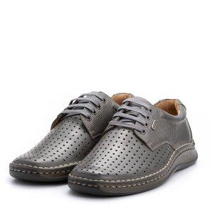 Pantofi casual barbati din piele naturala,Leofex-594 Gri Box