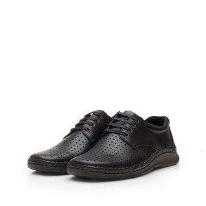 Pantofi casual barbati din piele naturala,Leofex - 594 Negru Box