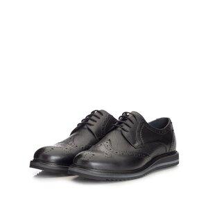 Pantofi casual barbati din piele naturala, Leofex - 846 Negru box