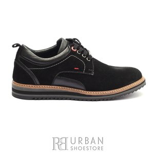 Pantofi casual barbati din piele naturala, Leofex - 969 Negru velur