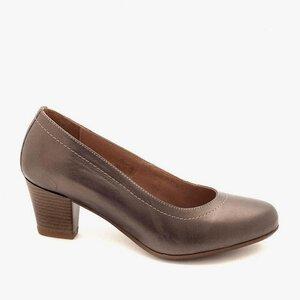 Pantofi casual cu toc dama din piele naturala - 022 gri box sidef