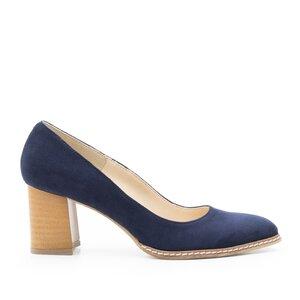 Pantofi casual cu toc dama din piele naturala - 2133 Blue velur