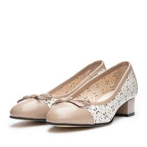 Pantofi casual cu toc dama din piele naturala - 265/2 Bej+taupe box