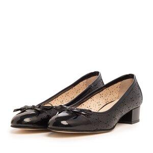 Pantofi casual cu toc dama din piele naturala - 265/2 Negru box+lac