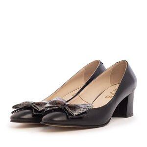 Pantofi casual cu toc dama din piele naturala - 450/5 Negru Box