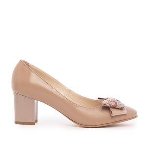Pantofi casual cu toc dama din piele naturala - 450/5 Taupe Box