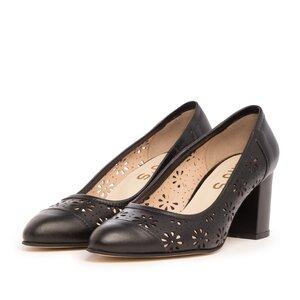 Pantofi casual cu toc dama din piele naturala - 544/1 Negru box