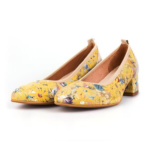 Pantofi casual cu toc dama din piele naturala,  Leofex - 231 Galben flori