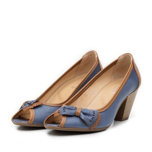Pantofi casual cu toc dama din piele naturala, Leofex - 276 blue cu maro