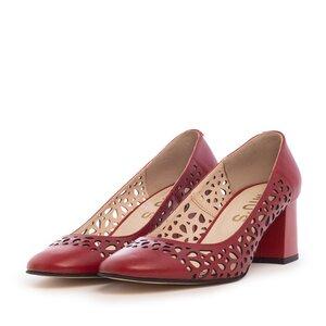 Pantofi casual cu toc dama, perforati din piele naturala - 791/5 Rosu Box