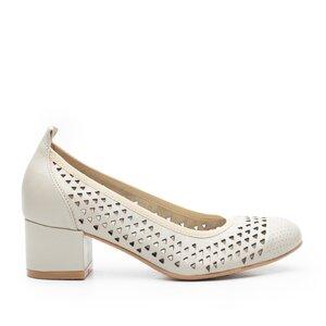 Pantofi casual cu toc dama, perforati din piele naturala, Leofex - 248 Bej Box