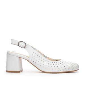 Pantofi casual cu toc dama, perforati si decupati la spate din piele naturala, Leofex - 247 Alb Box
